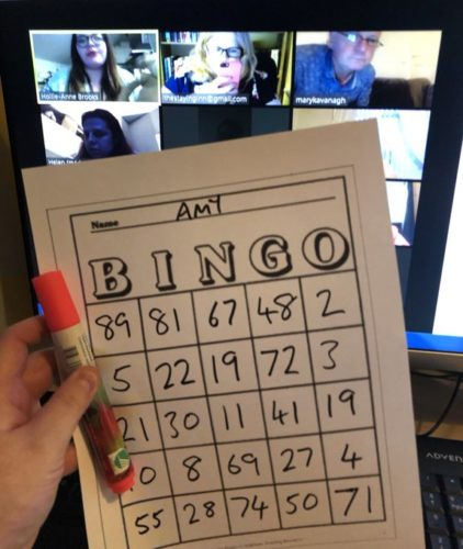 Bingo Card with screen in the background