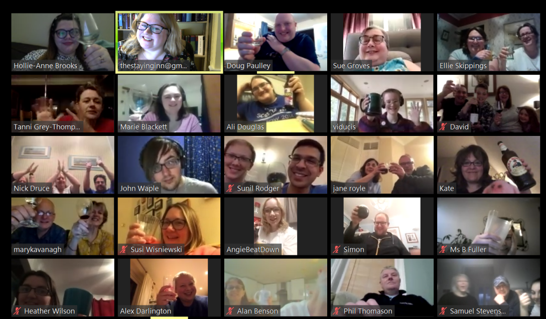 Screenshot showing faces of many Quiz participants in Zoom